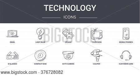 Technology Concept Line Icons Set. Contains Icons Usable For Web, Logo, Ui Ux Such As Light Bulb, Te