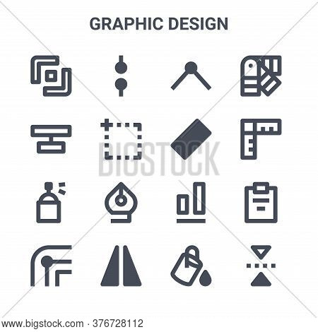 Set Of 16 Graphic Design Concept Vector Line Icons. 64x64 Thin Stroke Icons Such As Nodes, Align, Me