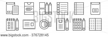 12 Set Of Linear Stationery Icons. Thin Outline Icons Such As Notepad, International Mail, Message,