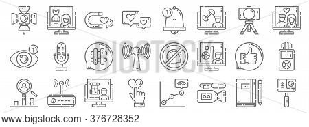 Videoblogger Line Icons. Linear Set. Quality Vector Line Set Such As Action Camera, Video Recorder,