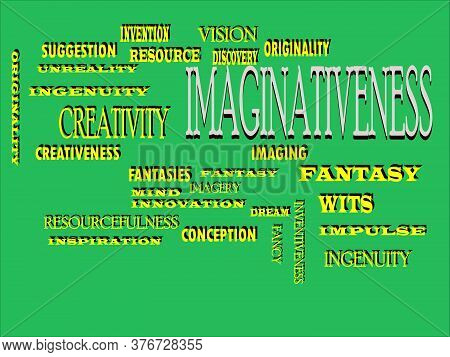 Imaginativeness Word Designed With Multiple Related Text Mean On Colorful Vector Cloud Abstract.