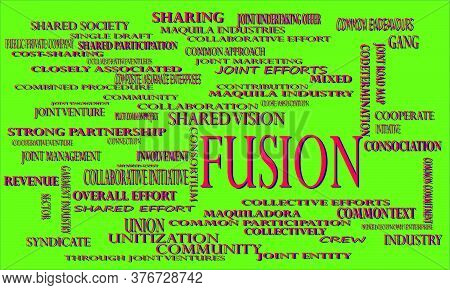 Fusion  A Business Related Terminology Word Cloud With Multiple Synonymous Vector Abstract.