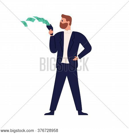 Rich Stylish Business Male Spending Money Vector Flat Illustration. Businessman Throwing Out Banknot