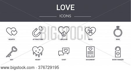 Love Concept Line Icons Set. Contains Icons Usable For Web, Logo, Ui Ux Such As Attraction, Hate, Ke