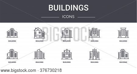 Buildings Concept Line Icons Set. Contains Icons Usable For Web, Logo, Ui Ux Such As Building, Build