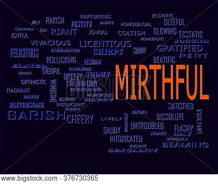 Mirthful Word Which Presented Human Love Relationship With Related Terminology Vector Illustration.