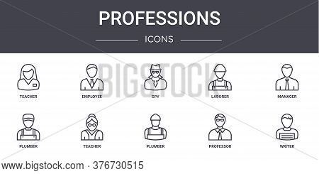 Professions Concept Line Icons Set. Contains Icons Usable For Web, Logo, Ui Ux Such As Employee, Lab