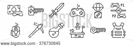 12 Set Of Linear Videogame Icons. Thin Outline Icons Such As Armor, Platform, Hoe, Airdrop, Sword, E