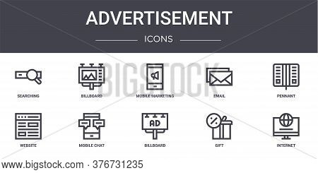 Advertisement Concept Line Icons Set. Contains Icons Usable For Web, Logo, Ui Ux Such As Billboard,