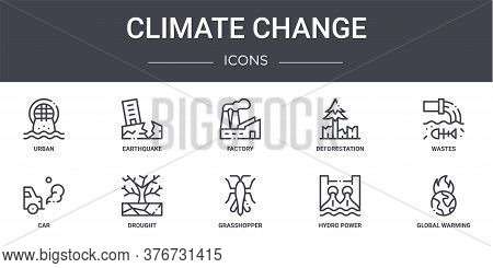 Climate Change Concept Line Icons Set. Contains Icons Usable For Web, Logo, Ui Ux Such As Earthquake