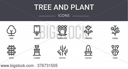 Tree And Plant Concept Line Icons Set. Contains Icons Usable For Web, Logo, Ui Ux Such As Bloom, Flo