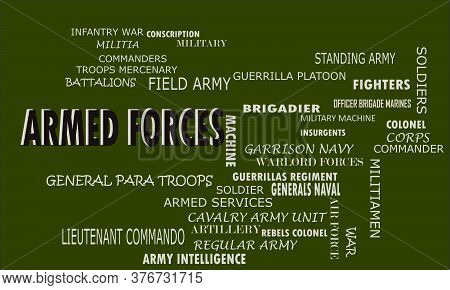 Armed Forces A Military Word Reflected With Related Meaningful Words On Text Cloud Vector Illustrati