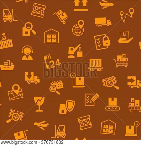 Cargo Delivery, Seamless Pattern, Brown, Color, Vector. Cargo Transportation And Delivery Of Goods.