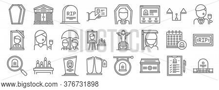 Funeral Line Icons. Linear Set. Quality Vector Line Set Such As Grave, Coffin, Dead Body, Funeral, F