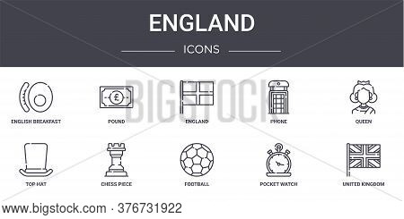 England Concept Line Icons Set. Contains Icons Usable For Web, Logo, Ui Ux Such As Pound, Phone, Top