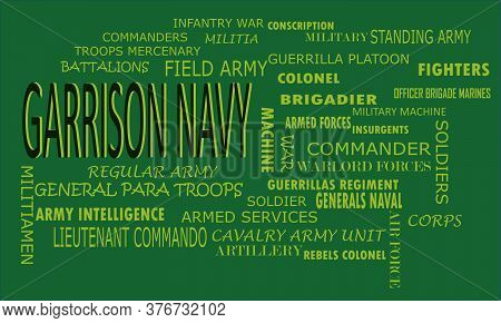 Garrison Navy Word Reflected With Related Meaningful Words On Text Cloud Vector Illustration