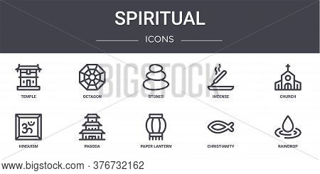 Spiritual Concept Line Icons Set. Contains Icons Usable For Web, Logo, Ui Ux Such As Octagon, Incens