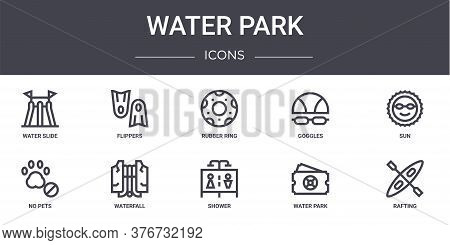 Water Park Concept Line Icons Set. Contains Icons Usable For Web, Logo, Ui Ux Such As Flippers, Gogg