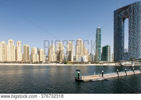 Dubai, United Arab Emirates, 02/07/2020. Jumeirah Beach Residence Beachfront With New The Address Re