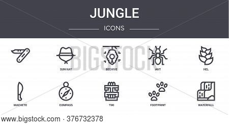Jungle Concept Line Icons Set. Contains Icons Usable For Web, Logo, Ui Ux Such As Sun Hat, Ant, Mach