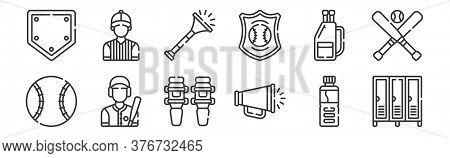 12 Set Of Linear Baseball Icons. Thin Outline Icons Such As Locker Room, Megaphone, Batter, Baseball