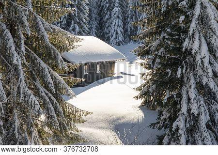 Old Wooden Snowy Ski Cabin Hidden Behind Trees In The Alps Near Hauchenberg Diepholz. Allgau, Bavari