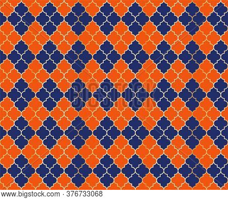 Eastern Mosque Vector Seamless Pattern. Argyle Rhombus Muslim Fabric Background. Traditional Mosque