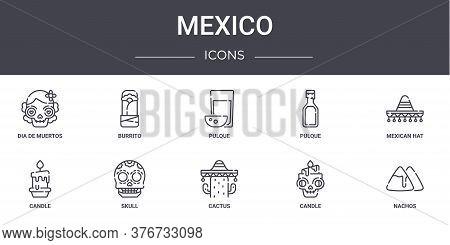 Mexico Concept Line Icons Set. Contains Icons Usable For Web, Logo, Ui Ux Such As Burrito, Pulque, C