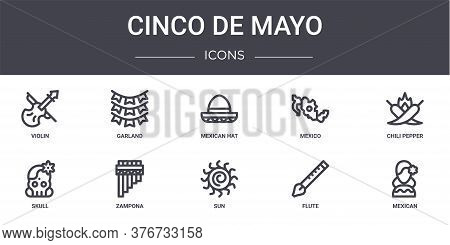 Cinco De Mayo Concept Line Icons Set. Contains Icons Usable For Web, Logo, Ui Ux Such As Garland, Me