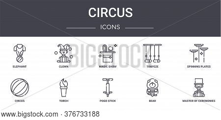 Circus Concept Line Icons Set. Contains Icons Usable For Web, Logo, Ui Ux Such As Clown, Trapeze, Ci