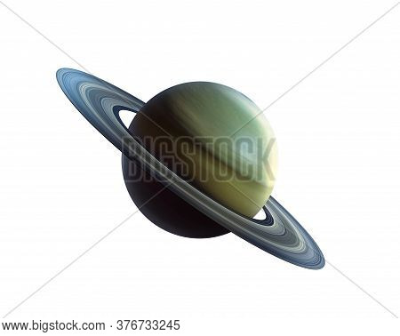 Saturn Planet Cut Out On White.. Planet With Rings Is Called Saturn. 3d Rendering. Isolated On White