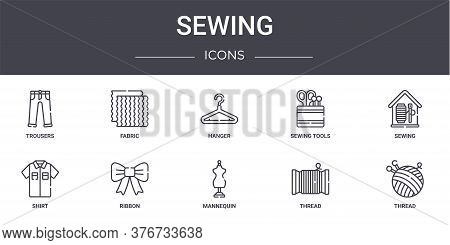 Sewing Concept Line Icons Set. Contains Icons Usable For Web, Logo, Ui Ux Such As Fabric, Sewing Too