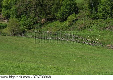 Panorama Of A Typical Alpine Meadow With Wood Fence. Mountain And Valley