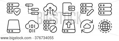 12 Set Of Linear Work Office Server Icons. Thin Outline Icons Such As Internet, Upload, Binary Code,