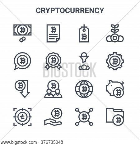 Set Of 16 Cryptocurrency Concept Vector Line Icons. 64x64 Thin Stroke Icons Such As Contract, Bitcoi