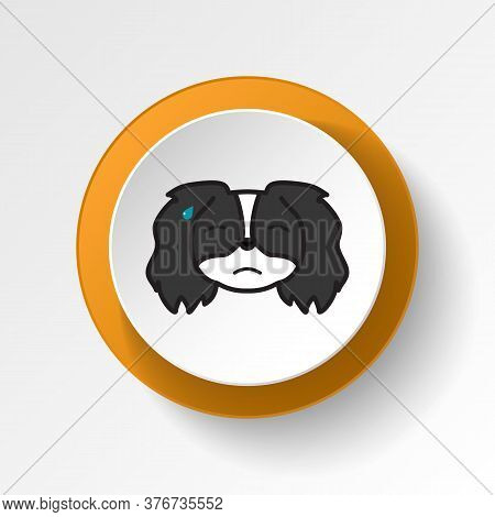 Pekingese, Emoji, Sweat Multicolored Button Icon. Signs And Symbols Icon Can Be Used For Web, Logo,