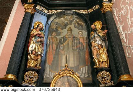 ZAGREB, CROATIA - MAY 16, 2013: Altar of Saint Dionysius in the Church of Saint Catherine of Alexandria in Zagreb, Croatia