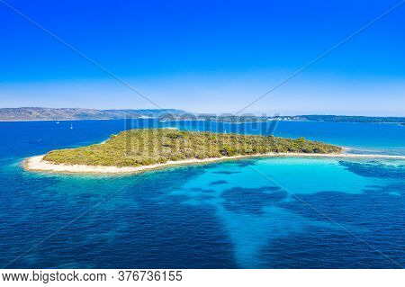 Beautiful Exotic Islands In Turquoise Sea, Clear Blue Water On The Island Of Dugi Otok In Croatia