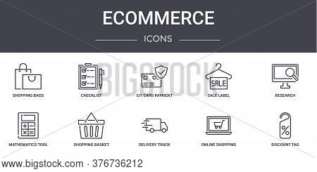 Ecommerce Concept Line Icons Set. Contains Icons Usable For Web, Logo, Ui Ux Such As Checklist, Sale