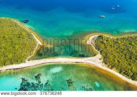 Beautiful Exotic Islands With Natural Bridge In Turquoise Sea On The Island Of Dugi Otok In Croatia,