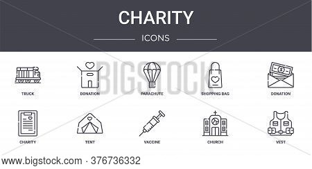Charity Concept Line Icons Set. Contains Icons Usable For Web, Logo, Ui Ux Such As Donation, Shoppin