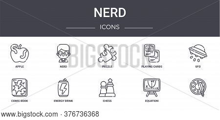 Nerd Concept Line Icons Set. Contains Icons Usable For Web, Logo, Ui Ux Such As Nerd, Playing Cards,