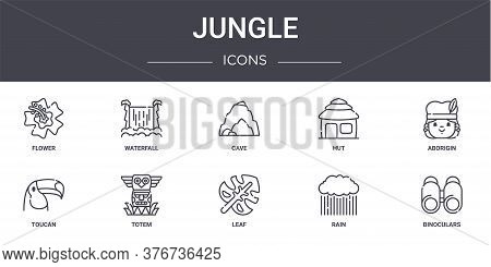 Jungle Concept Line Icons Set. Contains Icons Usable For Web, Logo, Ui Ux Such As Waterfall, Hut, To