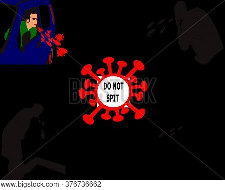 Four Different Vectors About Spitting Coronavirus Bacteria On The Road A Cartoon Vector With Infecte