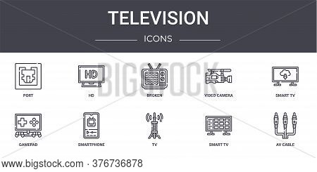 Television Concept Line Icons Set. Contains Icons Usable For Web, Logo, Ui Ux Such As Hd, Video Came