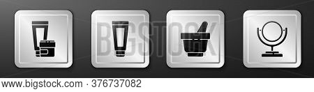 Set Cream Or Lotion Cosmetic Tube, Cream Or Lotion Cosmetic Tube, Mortar And Pestle And Round Makeup