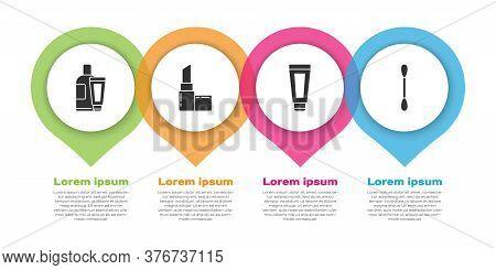 Set Cream Or Lotion Cosmetic Tube, Lipstick, Cream Or Lotion Cosmetic Tube And Cotton Swab For Ears.