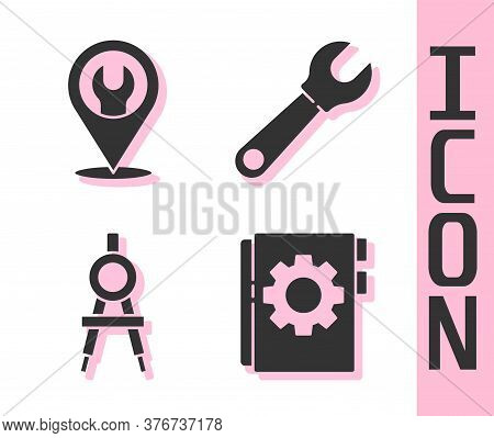 Set User Manual, Location With Wrench Spanner, Drawing Compass And Wrench Spanner Icon. Vector