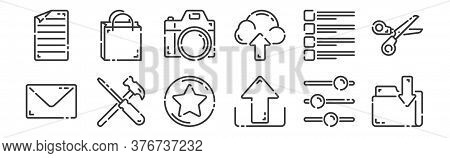 12 Set Of Linear User Interface Icons. Thin Outline Icons Such As Folder, Upload, Setting, Checklist