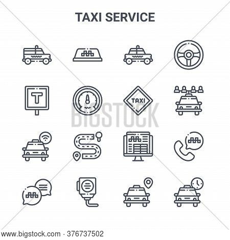 Set Of 16 Taxi Service Concept Vector Line Icons. 64x64 Thin Stroke Icons Such As Taxi, Taxi Stop, S